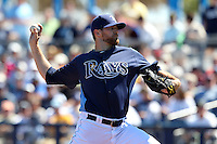 Tampa Bay Rays pitcher Wade Davis #40 delivers a pitch during a spring training game against the Baltimore Orioles at the Charlotte County Sports Park on March 5, 2012 in Port Charlotte, Florida.  (Mike Janes/Four Seam Images)