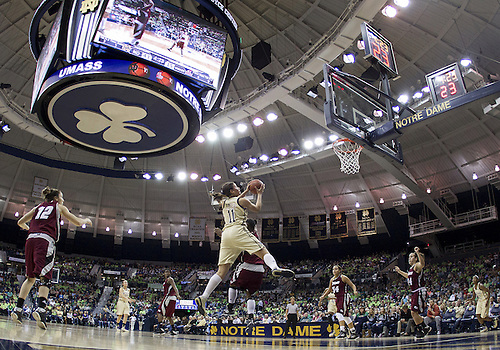 November 18, 2012:  A general view as Notre Dame forward Natalie Achonwa (11) drives to the basket during NCAA Women's Basketball game action between the Notre Dame Fighting Irish and the Massachusetts Minutewomen at Purcell Pavilion at the Joyce Center in South Bend, Indiana.  Notre Dame defeated Massachusetts 94-50.