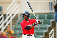 Kannapolis Intimidators first baseman Keon Barnum (35) at bat against the Greensboro Grasshoppers at CMC-Northeast Stadium on July 13, 2013 in Kannapolis, North Carolina.  The Intimidators wore throwback jerseys of the Piedmont Boll Weevils, who played in Kannapolis from 1996-2000.   (Brian Westerholt/Four Seam Images)