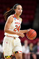 College Park, MD - March 23, 2019: Maryland Terrapins forward Stephanie Jones (24) brings the ball up court during first round action of game between Radford and Maryland at Xfinity Center in College Park, MD. Maryland defeated Radford 73-51. (Photo by Phil Peters/Media Images International)