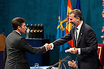 Prince Felipe of Spain gives to spanish golfer José María Olazábal the Prince of Asturias Award for Sports during the 2013 Prince of Asturias Awards ceremony at the Campoamor Theater in Oviedo, Spain. October 25, 2013..(ALTERPHOTOS/Victor Blanco)