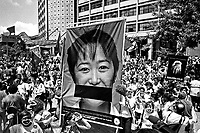 Manifestaçao feminista do Forum Social Mundial. Porto Alegre. Rio Grande do Sul. 2002. Foto de Joao Roberto Ripper.