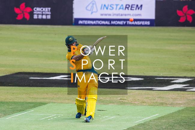 Matthew Short of Australia hits a shot during Day 1 of Hong Kong Cricket World Sixes 2017 Group B match between New Zealand Kiwis vs Australia at Kowloon Cricket Club on 28 October 2017, in Hong Kong, China. Photo by Vivek Prakash / Power Sport Images