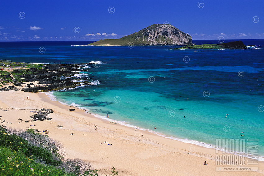 Looking down at Makapu'u Beach and out to Rabbit Island on the windward side of the island, Oahu