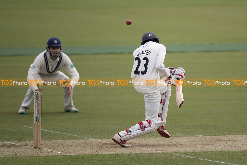 Haseeb Hameed of Lancashire CCC avoids a short delivery from Finn during Middlesex CCC vs Lancashire CCC, Specsavers County Championship Division 2 Cricket at Lord's Cricket Ground on 12th April 2019