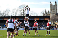Leroy Houston of Bath Rugby wins the ball at a lineout. Bath Rugby Captain's Run on February 19, 2016 at the Recreation Ground in Bath, England. Photo by: Patrick Khachfe / Onside Images
