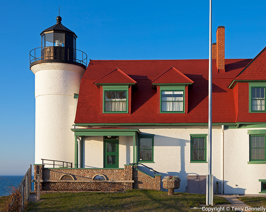 Benzie County, Michigan<br /> Point Betsie Lighthouse (1858) stands on the dunes of Lake Michigan's shore