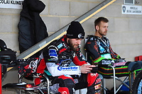 Nicoloai Klindt of Poole Pirates and Nikolaj Busk Jakobsen of Poole Pirates during Poole Pirates vs King's Lynn Stars, SGB Premiership Shield Speedway at The Stadium on 11th April 2019