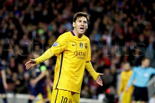 05.04.2016 Nou Camp, Barcelona, Spain. Uefa Champions League Quarter-finals 1st leg. FC Barcelona against Atletico de Madrid.  Leo Messi