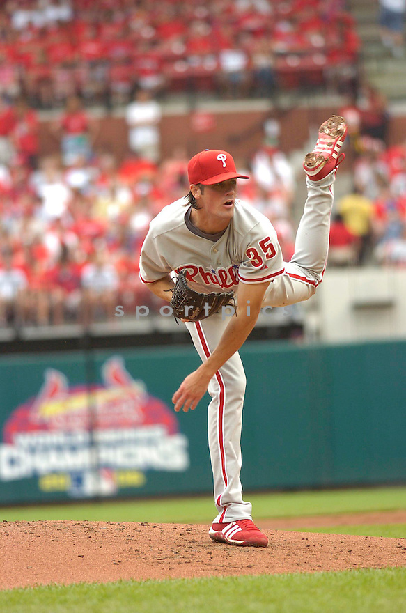COLE HAMELS, of the Philadelphia Phillies , in action during the Phillies game against the St. Louis Cardinals  in St. Louis, Missouri  on June 24,  2007...Phillies win 5-1...CHRIS BERNACCHI/ SPORTPICS.