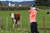 29th September 2017, Windross Farm, Auckland, New Zealand; LPGA McKayson NZ Womens Open, second;  New Zealand's Lydia Ko tees off on the 9th as a cow looks on