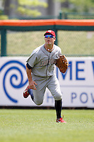 May 28, 2009:  Lehigh Valley IronPigs Right Fielder Jeremy Slayden chases down a fly ball during a game vs. the Buffalo Bisons at Coca-Cola Field in Buffalo, NY.  The IronPigs are the International League Triple-A affiliate of the Philadelphia Phillies.  Photo by:  Mike Janes/Four Seam Images