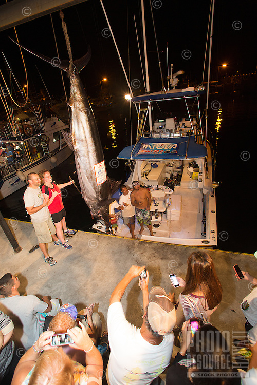 Angler Jen Brooks and husband Evan pose with a Pacific blue marlin grander next to fishing boat Lana Kila and her crew at Honokohau Harbor, Kailua-Kona, Big Island.