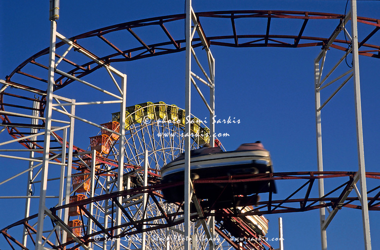 Rollercoaster in an amusement park in Marseille, France.