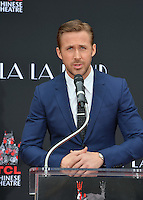 Actor Ryan Gosling at the TCL Chinese Theatre, Hollywood, where the star of La La Land had their hand &amp; footprints set in cement. <br /> December 7, 2016<br /> Picture: Paul Smith/Featureflash/SilverHub 0208 004 5359/ 07711 972644 Editors@silverhubmedia.com