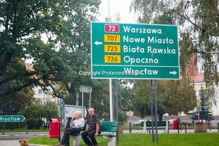 Polish kilometer road sign for Warsaw coming from Lodz.  Warsaw Poland