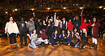 "Student Performers during the eduHAM Q & A before The Rockefeller Foundation and The Gilder Lehrman Institute of American History sponsored High School student #EduHam matinee performance of ""Hamilton"" at the Richard Rodgers Theatre on November 20, 2019 in New York City."