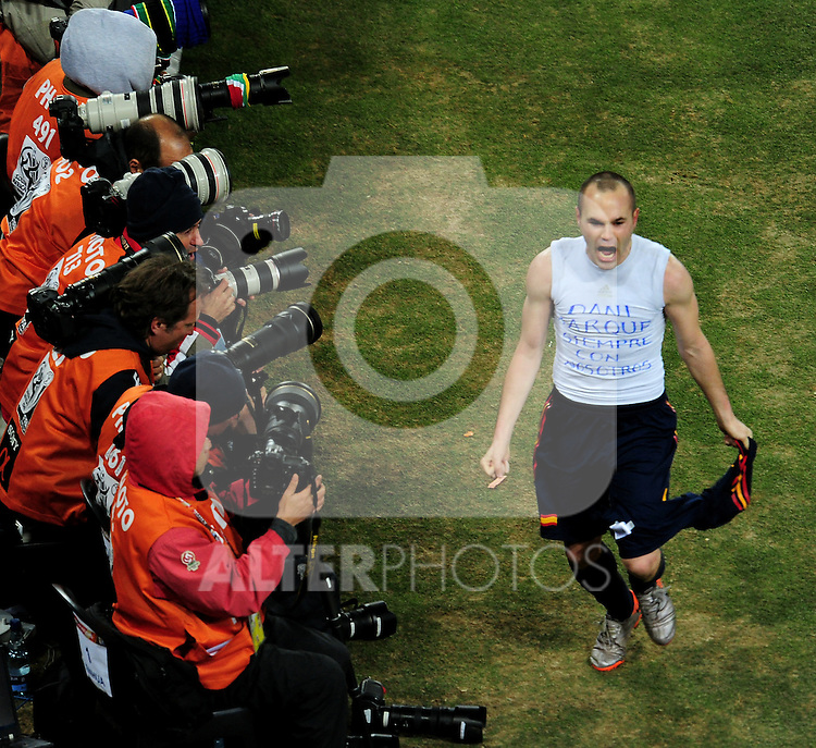 Andres Iniesta celebrates after scoring the winning goal during extra time in  the 2010 FIFA World Cup South Africa  Final match between Holland and Spain at Soccer City  on 11 July, 2010 in Johannesburg, South Africa.