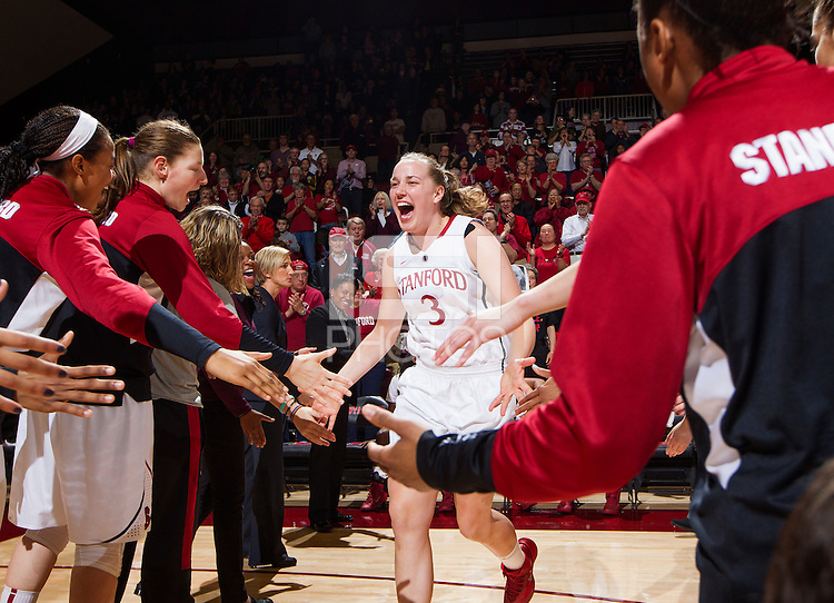 Stanford's Mikaela Ruef, before Stanford women's basketball  vs Washington State at Maples Pavilion, Stanford, California on March 1, 2014.