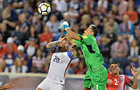 Harrison, N.J. - Friday September 01, 2017: Geoff Cameron, Keylor Navas during a 2017 FIFA World Cup Qualifying (WCQ) round match between the men's national teams of the United States (USA) and Costa Rica (CRC) at Red Bull Arena.