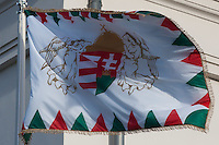 Flag rises as the Palace Guards take over the formal guard in front of the Sandor's Palace used as the office of the President of Hungary in Budapest, Hungary on January 07, 2012. ATTILA VOLGYI