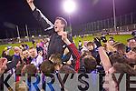 Castleisland Desmonds players celebrate their victory over Ballymun Kickhams at the Celebrity Bainisteoir final at Parnell park on Friday night.