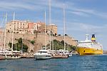 Corsica, France, Calvi, Northwest coast, Mediterranean Sea, Coastal towns in Corsica, the Citadel, ferry,