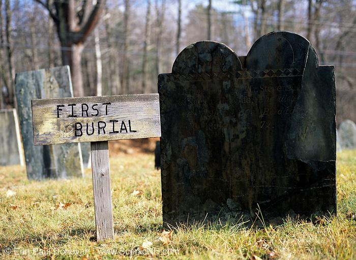 First Burial at Warren Village Cemetery in Warren, New Hampshire USA.