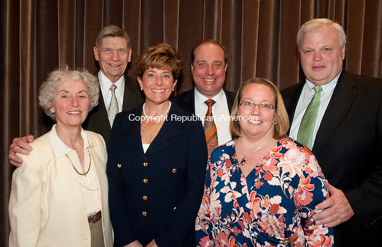 SOUTHINGTON, CT-0425014JS17- Judy and Mill Meyerjack of Cheshire; Cheryl and Michael Ziebka of Farmington with Jill and David Pelletier of Cheshire at the &quot;Wines of the World&quot; dinner and auction to benefit Literacy Volunteers of Greater Waterbury held at the Aqua Turf in Southington<br /> Jim Shannon Republican-American