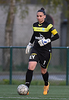 20170414 - Zulte , BELGIUM : AA Gent's Nicky Evrard pictured during the soccer match between the women teams of Zulte Waregem and AA Gent Ladies , in the semi final matchday of the Belgian CUP - Beker van Belgie voor Vrouwen competition on Friday 14th April 2017 in Zulte .  PHOTO SPORTPIX.BE DIRK VUYLSTEKE