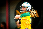 Photo by David Wilson, Artisan Image -4/1/12 -  Lindsay Tippet playing first base for Methodist College against Guilford College.