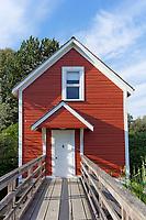 Restored wooden stilt house in the Britannia Heritage Shipyard park, Steveston, Richmond, British Columbia, Canada