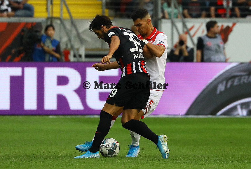 Goncalo Paciencia (Eintracht Frankfurt) gegen Kaan Ayhan (Fortuna Düsseldorf) - 01.09.2019: Eintracht Frankfurt vs. Fortuna Düsseldorf, Commerzbank Arena, 3. Spieltag<br /> DISCLAIMER: DFL regulations prohibit any use of photographs as image sequences and/or quasi-video.