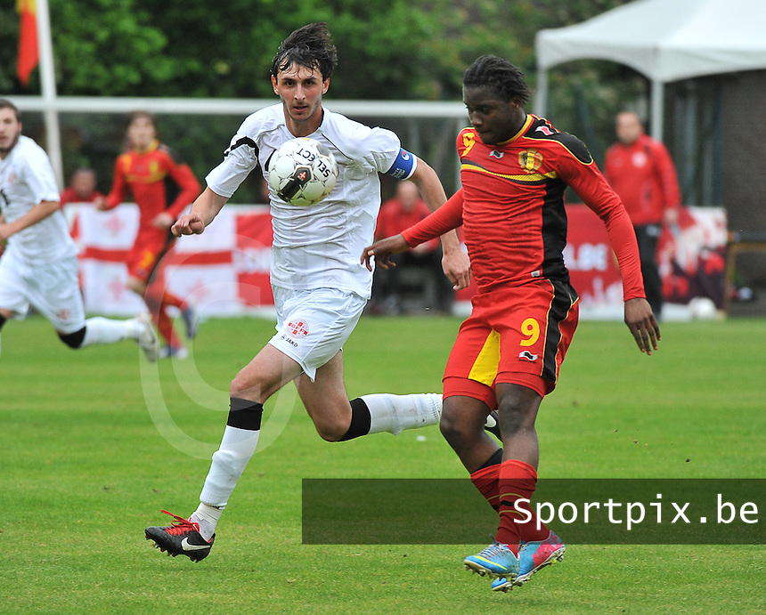 Georgia U19 - Belgium U19 : Nathan Kabasele (9) and Nika Sandokhadze (4)<br /> foto DAVID CATRY / Nikonpro.be
