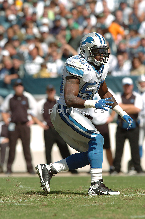 ERNIE SAMS, of the Detroit Lions, in action during the LIons games against the Philadelphia Eagles, in Philadelphia, PA on September 23, 2007.  The Eagles won the game 56-21...........