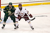 Jake Massie (UVM - 34), David Cotton (BC - 17) - The Boston College Eagles defeated the University of Vermont Catamounts 7-4 on Saturday, March 11, 2017, at Kelley Rink to sweep their Hockey East quarterfinal series.The Boston College Eagles defeated the University of Vermont Catamounts 7-4 on Saturday, March 11, 2017, at Kelley Rink to sweep their Hockey East quarterfinal series.