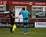 Chris Maxwell of Fleetwood Town  complains to the assistant referee - English League One - Fleetwood Town vs Sheffield Utd - Highbury Stadium - Fleetwood - England - 5rd March 2016 - Picture Simon Bellis/Sportimage