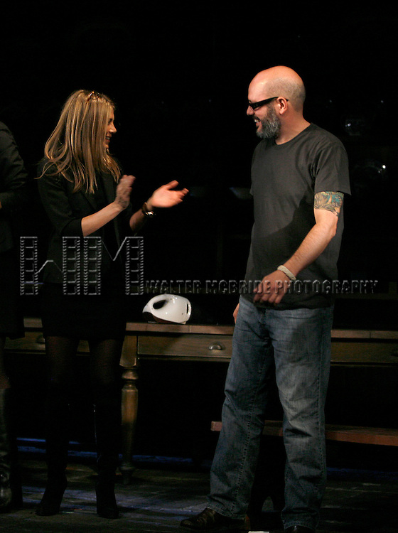 Jennifer Aniston & David Cross.during the Curtain Call for the 9th Annual Production of The 24 Hour Plays on Broadway at The American Airlines Theatre in New York City..November 9, 2009.© Walter McBride /