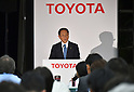 May 8, 2015, Tokyo, Japan - Akio Toyoda, president of Japan's Toyota Motor Corp., speaks during a news conference at its head office in Tokyo on Friday, May 8, 2015. The world's top-selling automaker forecasts operating profit will edge up 1.8 percent this year to 2.80 trillion yen.  (Photo by Natsuki Sakai/AFLO)