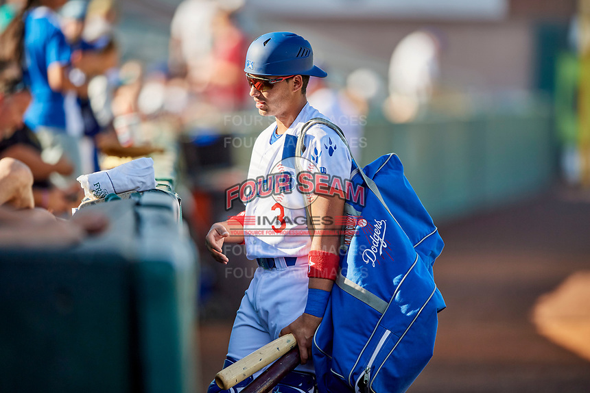 Ramon Rodriguez (3) of the Ogden Raptors before the game against the Grand Junction Rockies at Lindquist Field on June 25, 2018 in Ogden, Utah. The Raptors defeated the Rockies 5-3. (Stephen Smith/Four Seam Images)