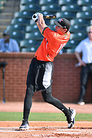Craig Dedelow of the Kannapolis Intimidators swings at a pitch during the home run derby as part of the All Star Game festivities at First National Bank Field on June 19, 2018 in Greensboro, North Carolina.(Tony Farlow/Four Seam Images)