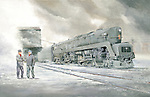 "A Pennsylvania Railroad T1 waiting in the snow for the engineer and fireman in the East Altoona Yard, circa 1954. Oil on canvas, 18"" x 28""."