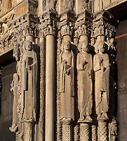 L-r; Queen of Sheba, a plain column, a queen, a Jew and a prophet, from the left splay of the central bay of the Royal Portal, 1142-50, Western facade, Chartres cathedral, Eure-et-Loir, France. Chartres cathedral was built 1194-1250 and is a fine example of Gothic architecture. It was declared a UNESCO World Heritage Site in 1979. Picture by Manuel Cohen.