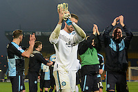 Wycombe Wanderers goalkeeper Matt Ingram applauds the travelling supporters following the Sky Bet League 2 match between Mansfield Town and Wycombe Wanderers at the One Call Stadium, Mansfield, England on 31 October 2015. Photo by Garry Griffiths.
