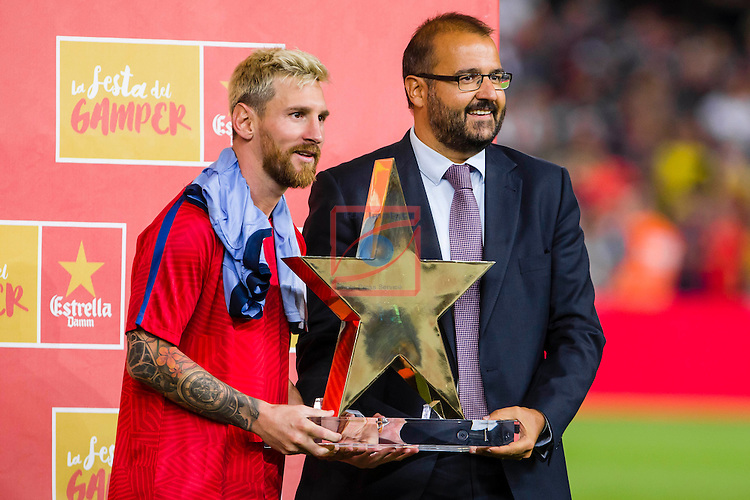 League Santander 2016/2017.<br /> 51e Trofeu Joan Gamper.<br /> FC Barcelona vs UC Sampdoria: 3-2.<br /> Lionel Messi &amp; Jofre Riera.