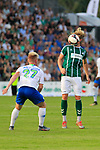 28.08.2019, Stadion Lohmühle, Luebeck, GER,  VFB Lübeck/Luebeck vs VfL Wolfsburg IIi<br /> <br /> DFB REGULATIONS PROHIBIT ANY USE OF PHOTOGRAPHS AS IMAGE SEQUENCES AND/OR QUASI-VIDEO.<br /> <br /> im Bild / picture shows<br /> Zweikampf/Kopfball. Kopfballduell zwischen Marcel Schelle (VfB Luebeck) und Dominik Marx VfL Wolfsburg II.<br /> <br /> Foto © nordphoto / Tauchnitz