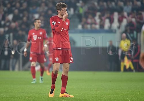 23.02.2016. Turin, Italy. UEFA Champions League football. Juventus versus Bayern Munich.  Thomas Mueller (FC Bayern Mun) looking dissapointed