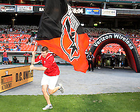 Flag bearer of D.C. United during an MLS match against Seattle Sounders FC at RFK Stadium on July 15 2010, in Washington DC.Seattle won 1-0.