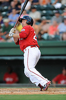 Designated hitter Tim Roberson (25) of the Greenville Drive bats in a game against the Asheville Tourists on Tuesday, July 1, 2014, at Fluor Field at the West End in Greenville, South Carolina. Asheville won, 5-2. (Tom Priddy/Four Seam Images)