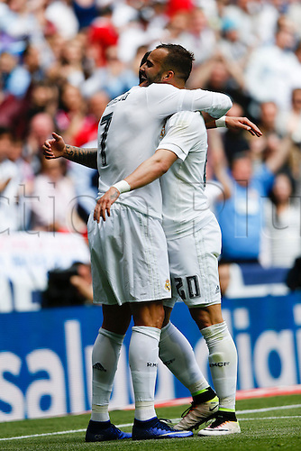 09.04.2016. Madrid, Spain.  Cristiano Ronaldo dos Santos (7) Real Madrid celebrates  after scoring his team´s 3rd goal. La Liga match between Real Madrid and SD Eibar at the Santiago Bernabeu stadium in Madrid, Spain.